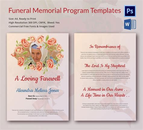 5 funeral memorial templates free word pdf psd
