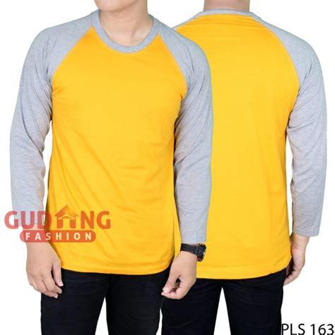 T Shirt Pria Azura Combed Abu M Late Xl raglan tshirt lengan panjang pria cotton combed kuning mangga lengan abu pls 163 gudang fashion