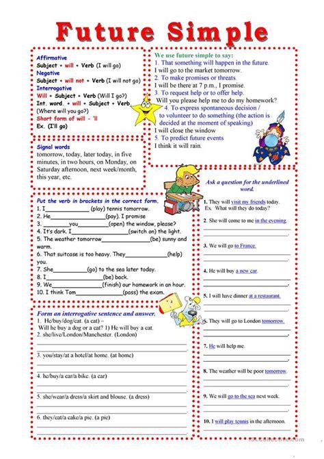 esl le future simple worksheet free esl printable worksheets