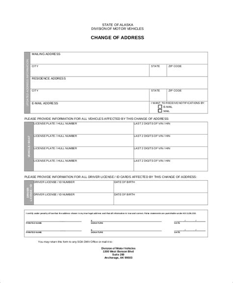 8 Dmv Change Of Address Form Sles Sle Templates Change Of Address Form Template