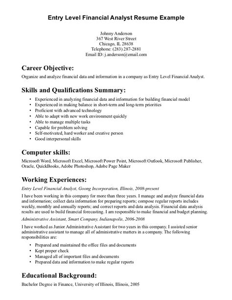 Entry Level Resume Objective by General Entry Level Resume Objective Exles Career Objective Skills Qualifications Summary
