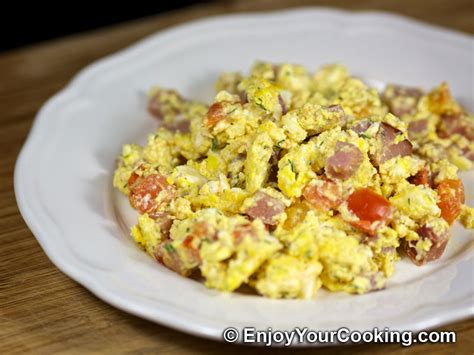 scrambled eggs for dogs scrambled eggs with ham and tomatoes recipe my food recipes tips