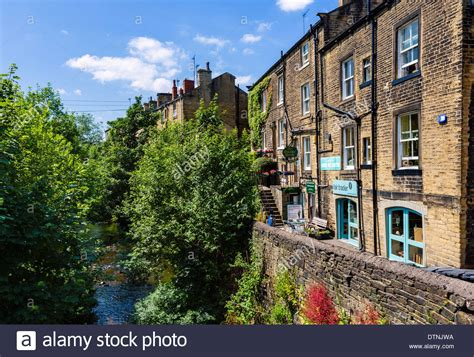 houses to buy holmfirth river holme and wrinkled stocking cafe compo s house in last of the stock photo
