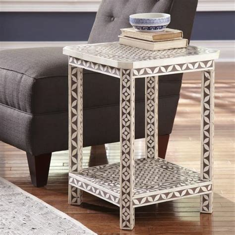 Ideas For Bone Inlay Table Design Brown And White Madena Side Table