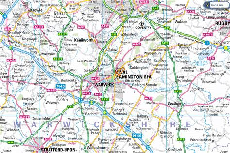 road map showing location of leamington spa maps project