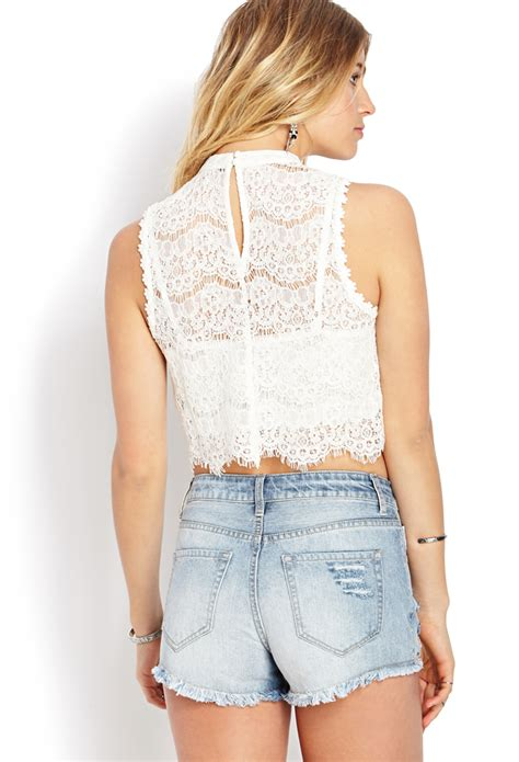 Flower Crochet White Rajut Bunga Crop Top lyst forever 21 dainty crochet lace crop top in white