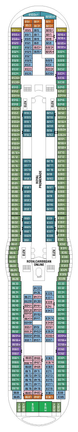 adventure of the seas floor plan royal caribbean adventure of the seas deck eight plan