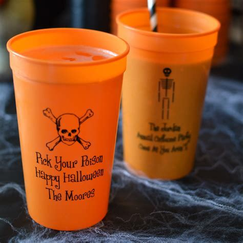 Halloween Party Cups   22 Oz. Plastic Stadium Personalized