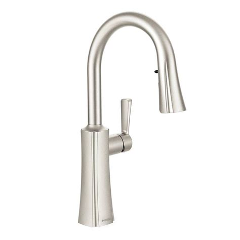 moen 87350esrs haysfield pullout kitchen faucet with moen haysfield single handle pull down sprayer touchless