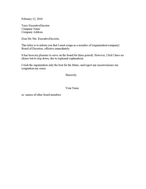 Resignation Letter Format Chairman Society Resignation Letter Sle Board Of Directors Images