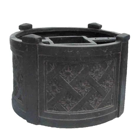 Mpg 18 In Dia Charcoal Cast Stone Mailbox Planter Mailbox With Planter