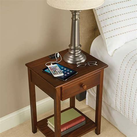 nightstand with charging station the wooden nightstand with integrated charging station