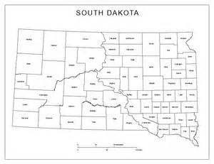 map of south counties south dakota labeled map