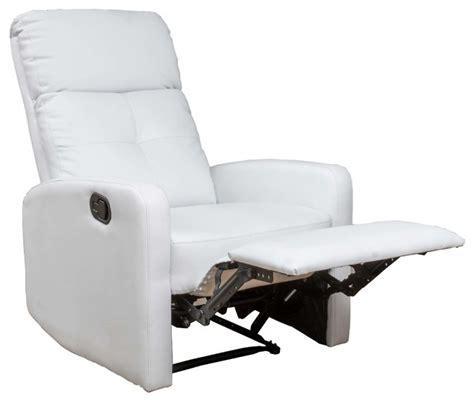 white leather recliners shop houzz gdfstudio teyana white leather recliner club