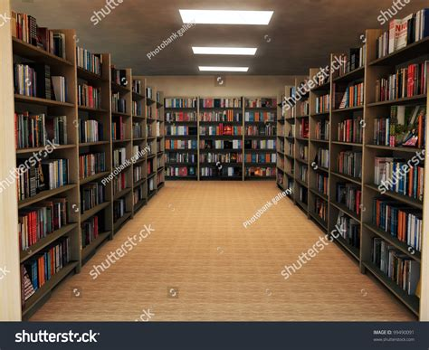 bookshelf library stock illustration 99490091