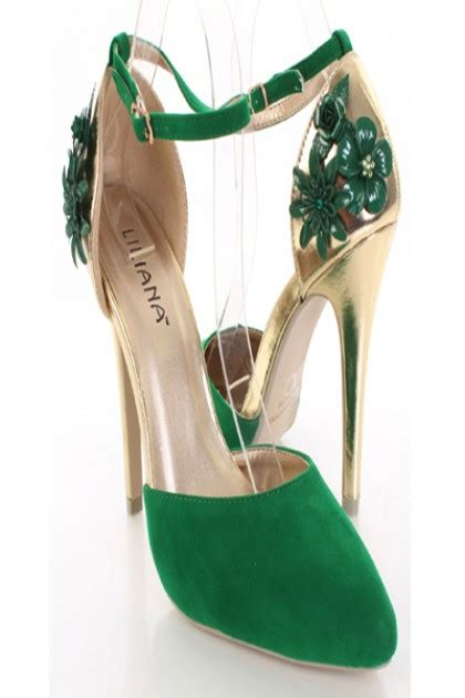 green gold faux suede pointy toe floral decor ankle