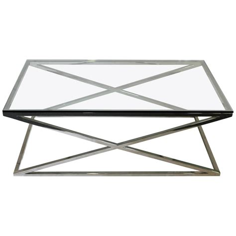 Rectangular Glass Coffee Tables Mid Century Modern Rectangular Glass Coffee Table Chrome X Base For Sale At 1stdibs