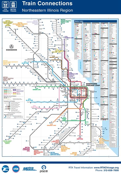 chicago metra map chicago cta metra and subway map