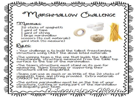 marshmallow challenge instructions the leaning tower of marshmallow a learning affair