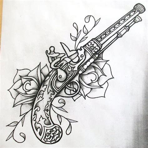 revolver tattoo design guns and roses shaded by onfire4him deviantart on