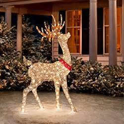 Lighted Outdoor Deer For Decorations Glittering Chagne Buck Reindeer