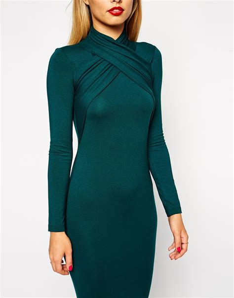Sweater O Neck Twis Pria 1 lyst asos midi bodycon dress with twist neck detail in green