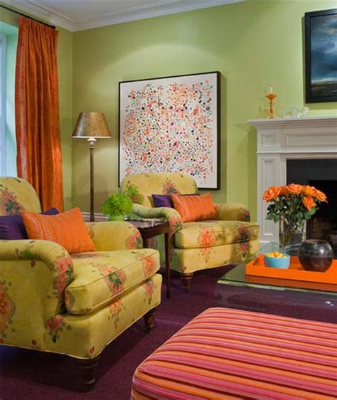 decorating with color green and orange living room ideas house decor picture