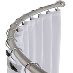 brushed nickel curved shower curtain rod bath area bathtub
