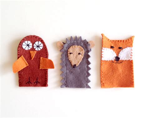 Handmade Puppets Patterns - diy forest friends finger puppets handmade