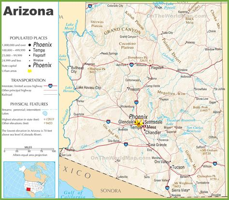 map world az arizona interstate map