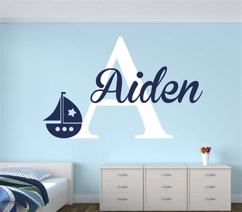 name wall decals for nursery personalized name sailboat wall decal for boys nautical
