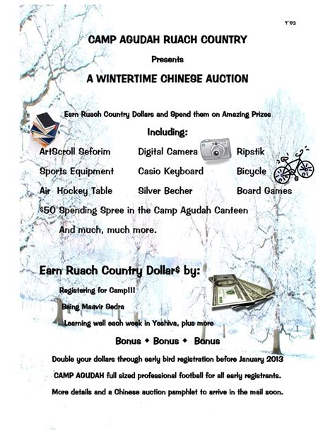 camp agudah chinese auction flyer