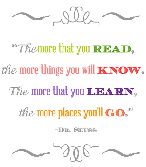 printable dr seuss reading quotes the more you read dr seuss quotes quotesgram