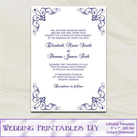Blue And Silver Wedding Invitations