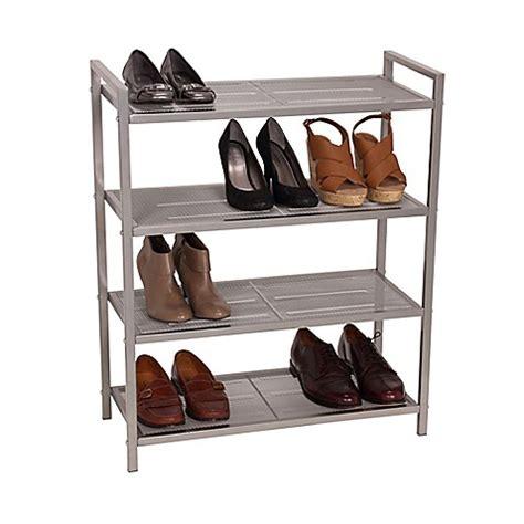 bathroom shoo rack household essentials 174 4 tier mesh shoe rack in nickel bed bath beyond