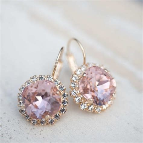 Hochzeitsschmuck Vintage by Bridal Earrings Wedding Jewelry Vintage Pink Dangle