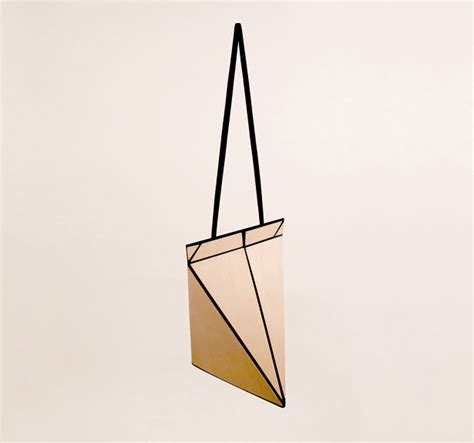 Origami Handbag - playful facet origami bag can be folded flat for easy