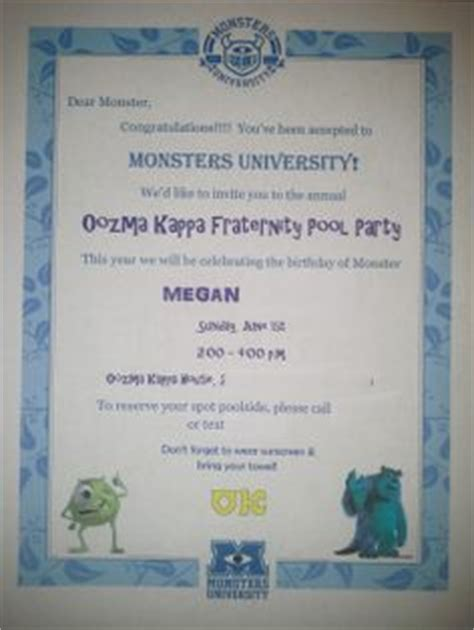Monsters Acceptance Letter Pdf 1000 Images About Birthday Ideas On