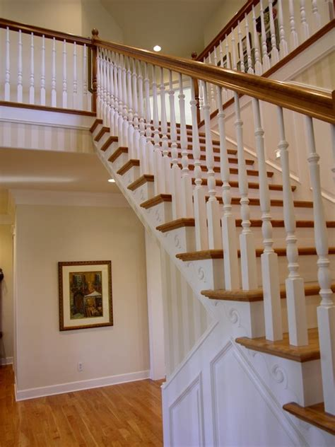 traditional staircases traditional stair with painted wainscoting traditional