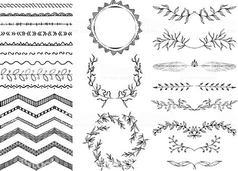 border decorative element patterns vector set of handdrawn seamless doodle borders sketch style