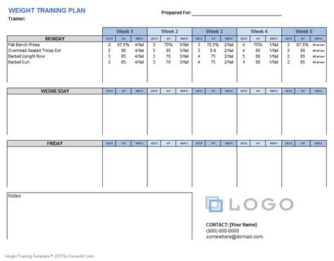 Download A Free Weight Training Plan Template That You Can Customize Using Excel Designed For Lifting Plan Template Uk