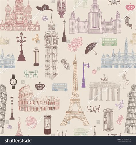 wallpaper design europe travel seamless pattern vacation europe wallpaper stock