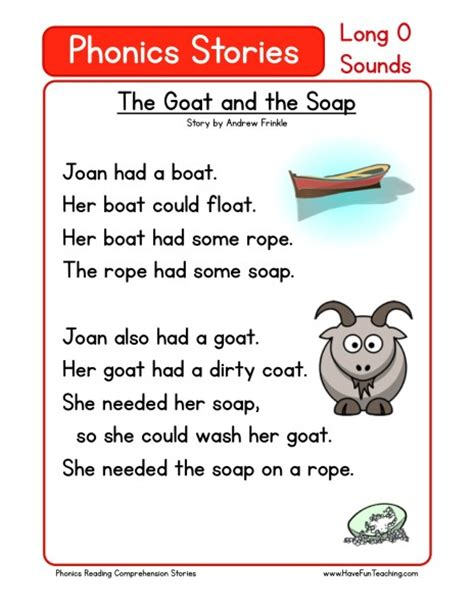 Phonics Reading Worksheets For Kindergarten by Reading Comprehension Worksheet The Goat And The Soap