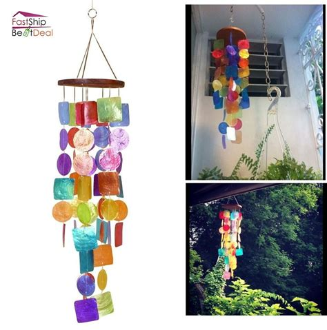 decorations to hang outside of houses wind chimes hanging colorful capiz garden patio home decoration outdoor relaxing ebay