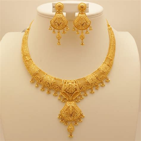 Set Necklace Earrings C73934 Gold 22 carat indian gold necklace set 72 3 grams gold forever