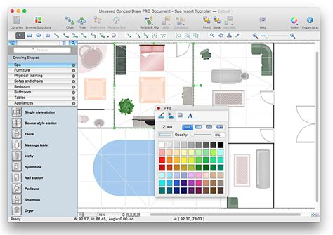 spa layout plan drawing creating a spa floor plan conceptdraw helpdesk