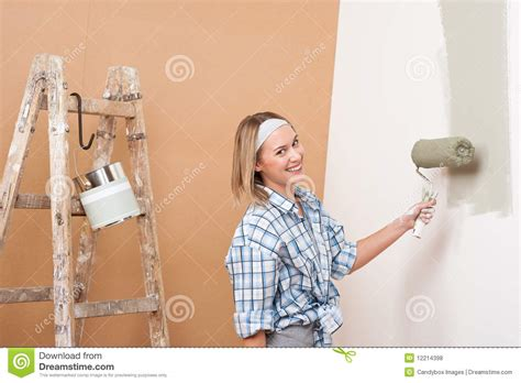 home improvement happy painting wall royalty free