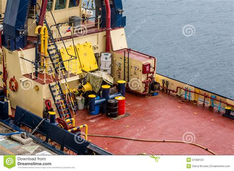 tugboat deck barrels on deck of tugboat stock photo image 57568123