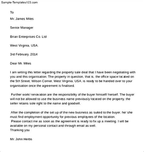 Letter Of Agreement On Land Purchasing Land Agreement Letter Sle Templates