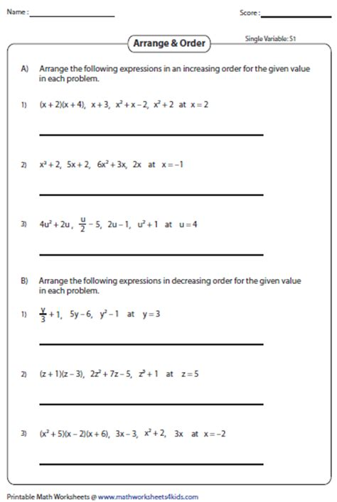 Evaluating Expressions Worksheet by Evaluating Algebraic Expression Worksheets